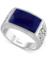 Effy Collection Gento By Effy Men's Lapis Lazuli Ring 3 9 10 Ct. T.W. In Sterling Silver