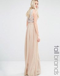 Maya Tall Delicate Maxi Dress With Embellished Back Mink Beige