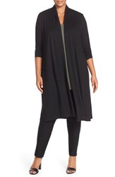 Plus Size Women's Eileen Fisher Lightweight Jersey Shaped Long Cardigan Black