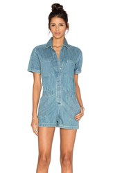 Greylin Lia Denim Romper Blue