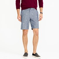 J.Crew 9' Stanton Short In Chambray With Embroidered Anchors