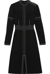 Burberry Stitched Wool And Silk Blend Crepe Dress Black