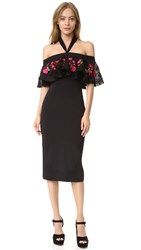 Temperley London Fitted Lyra Dress Black Poppy