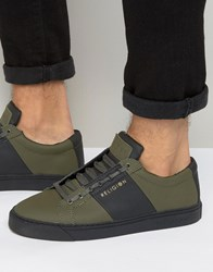Religion Flander Leather Trainers Olive Green