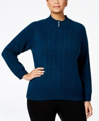 Karen Scott Plus Size Cable Knit Mock Neck Sweater Only At Macy's Teal Lake Marl