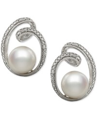 Macy's Cultured Freshwater Pearl 8Mm And Diamond Accent Earrings In Sterling Silver