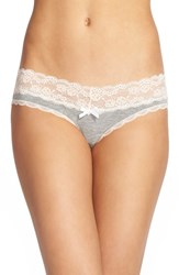 Women's Honeydew Intimates Lace Trim Low Rise Thong Heather Grey Seashell