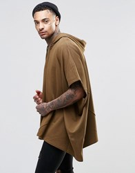 Asos Longline Hooded Cape With Zip Neck Fawn Beige