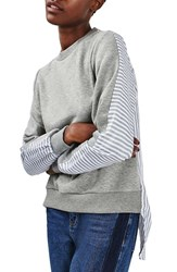 Topshop Women's Heathered And Stripe Hybrid Sweatshirt