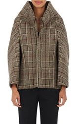 Comme Des Garcons Junya Watanabe Women's Plaid Wool Cape Coat Brown
