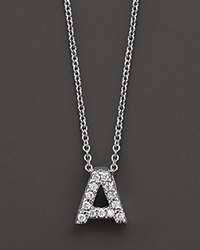 Roberto Coin 18K White Gold Love Letter Initial Pendant Necklace 16