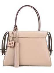 Tod's Studded Cube And Tassel Tote Nude Neutrals