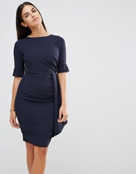 Vesper Dress With Ruching Detail Navy
