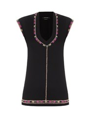 Isabel Marant Cotton Jersey Embroidered Top Black
