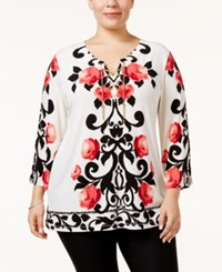 Jm Collection Plus Size Printed Embellished Tunic Only At Macy's White Carousel Scroll