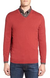 Nordstrom Men's Big And Tall Men's Shop Cotton And Cashmere V Neck Sweater Red Brick