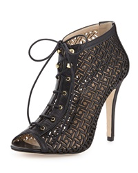 Etienne Aigner Perforated Lace Up Bootie Black