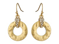 Lauren Ralph Lauren Sandy Cay French Wire 19Mm Hammered Metal Ring W Pave Drop Earrings Crystal Matte Gold Earring