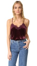 One By Cami Nyc Velvet Racer Camisole Wine