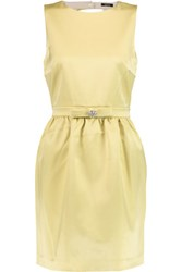 Raoul Brandie Embellished Satin Mini Dress Yellow