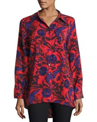 Neiman Marcus Floral Print Pleat Back Tunic Multi
