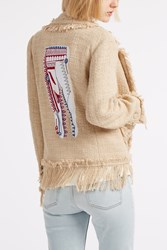 Msgm Cotton Fringe Jacket Beige
