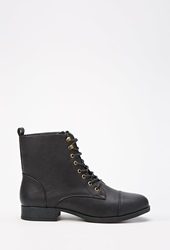 Forever 21 Lace Up Faux Leather Boots Wide Black