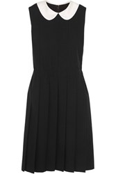 Comme Des Garcons Pleated Silk Trimmed Wool Dress Black