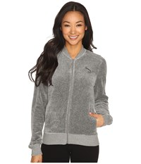 Puma Velour T7 Jacket Medium Gray Heather Women's Coat