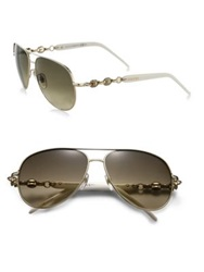 Gucci Marina Chain 58Mm Aviator Sunglasses Ivory Gold Shiny Brown