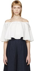 Rosetta Getty Ivory Off The Shoulder Circle Top