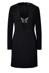 Marios Schwab Long Sleeve Dress With Lace Inset