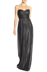Women's Nouvelle Amsale 'London' Sequin Tulle Strapless Sequin Column Gown Black