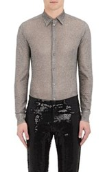 Saint Laurent Men's Button Front Shirt Silver