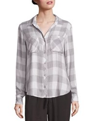 Bella Dahl Two Pocket Plaid Buttonn Down Shirt Stone Heather