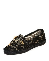 Dolce And Gabbana Jeweled Floral Lace Espadrille Black