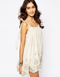 Free People Summer Tunic With Embroidery Brown