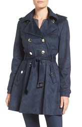 Jessica Simpson Women's Faux Suede Belted Trench Navy