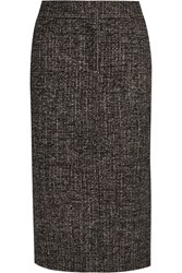 Tom Ford Zip Embellished Wool Blend Tweed Pencil Skirt Dark Brown
