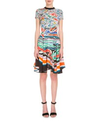 Mary Katrantzou Short Sleeve Wave Collar Dress Multi Multi Colors