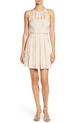 Tfnc Women's Embellished Cage Fit And Flare Dress Nude