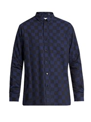 Ami Alexandre Mattiussi Point Collar Checked Cotton Shirt Navy Multi
