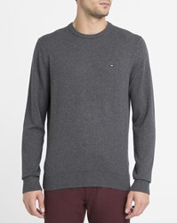Tommy Hilfiger Charcoal Round Neck Cotton And Cashmere Sweater Grey