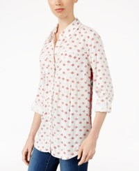 Styleandco. Style Co. Petite Printed Button Front Shirt Only At Macy's Tiny Fleur