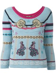 Roberto Cavalli 'Circus' Patches Embellished Pullover Blue