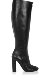 Tom Ford Fringed Leather Knee Boots Black