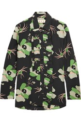 Marni Ruffled Floral Print Silk Crepe De Chine Blouse Green Black
