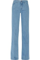 Victoria Beckham High Rise Wide Leg Jeans Blue