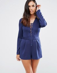 Love And Other Things Romper With Lace Up Front Blue