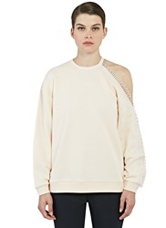 Christopher Kane Loop Trimmed Cut Out Sweater Neutral